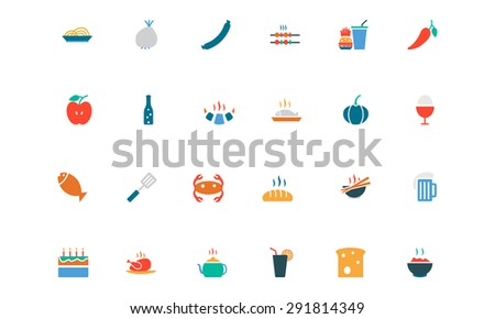 Food and Drinks Vector Colored Icons