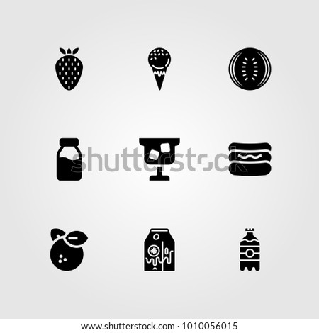 Food And Drinks vector icon set. watermelon, drink, milk bottle and milk