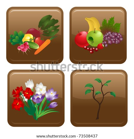 Food and flowers icon - stock vector