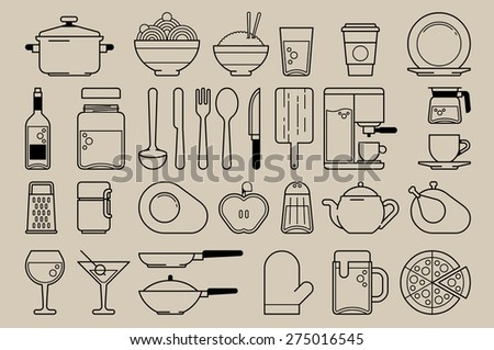 food and kitchen elements, vector line icons - stock vector