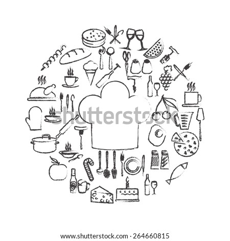 Food and kitchen icon set isolated on white background. Vector illustration. - stock vector