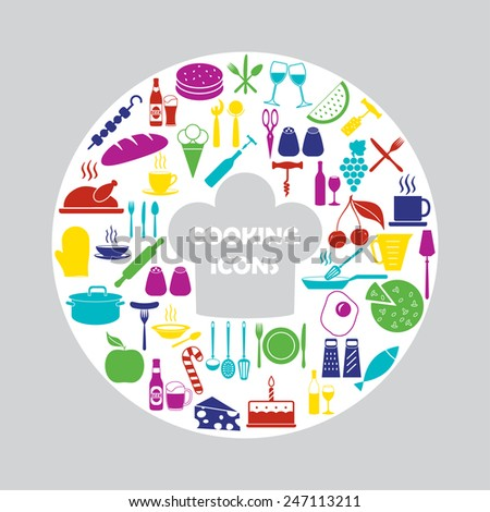 Food and kitchen icons set. Colorful vector illustration. - stock vector