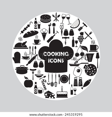 Food and kitchen icons set. Vector illustration. - stock vector