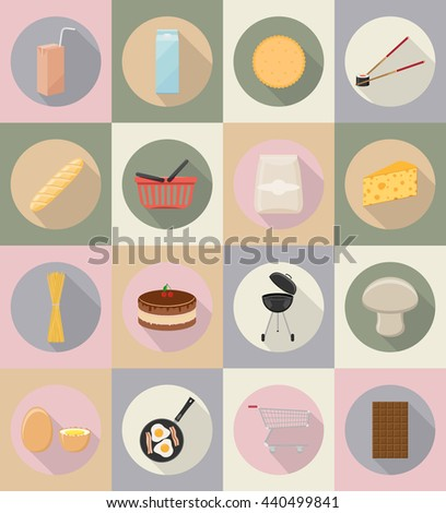 food and objects flat icons vector illustration isolated on background