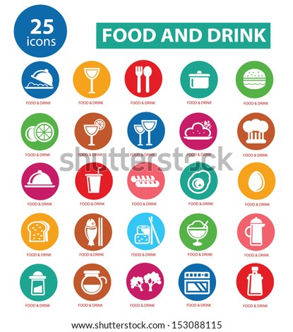 Food and Restaurant icons set,Colorful version,vector - stock vector