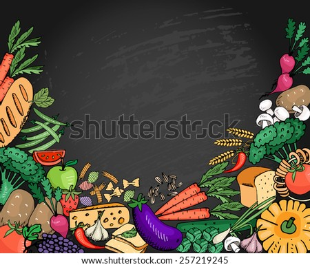 Food background vegetables and fruit, cheese and bread for italian menu with space for text. Vector illustration - stock vector