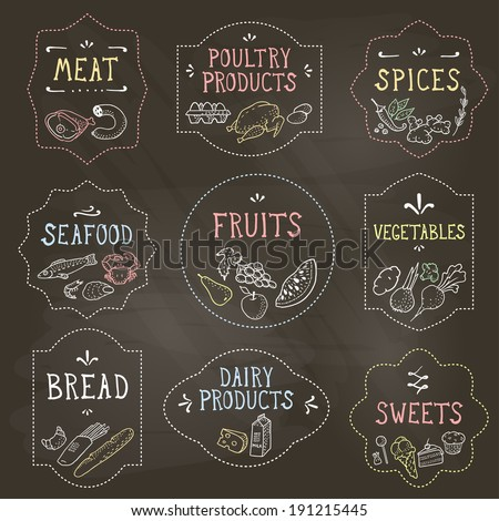 Food Badges Set, Hand Drawn by Chalk. Vector illustration, eps10. - stock vector