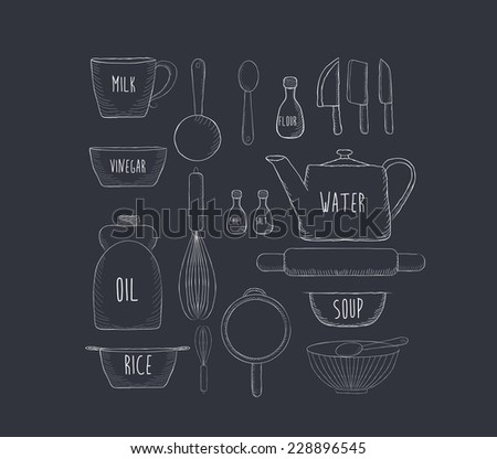 Food baking and equipment sketch icon set - stock vector