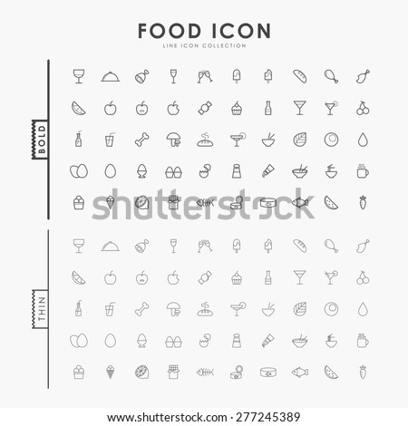 food bold and thin line icons - stock vector