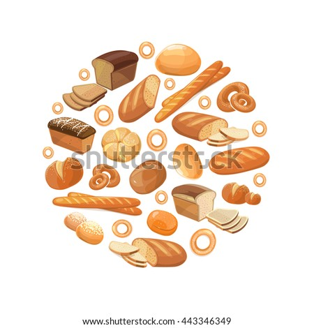 Food bread rye wheat whole grain bagel sliced french baguette croissant vector icons in circle. Bakery products for breakfast, illustration of loaf and snack bakery - stock vector