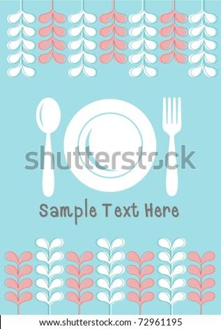 Food  business menu design on blue background - stock vector