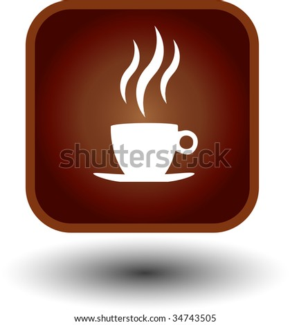 food button, hot coffee icon - stock vector