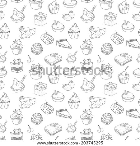 food, cake, pattern - stock vector