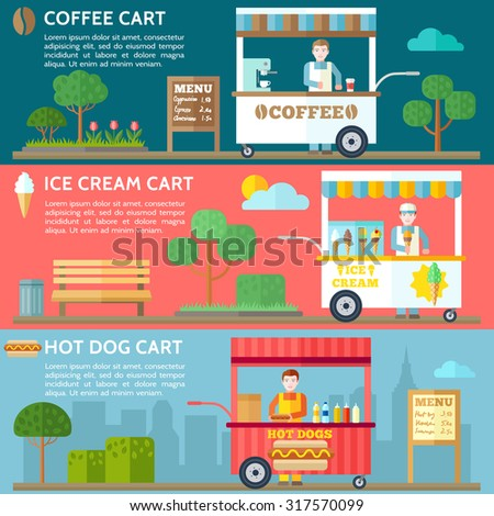Food carts with sellers. Hot dog shop, ice cream cart, coffee street cart in city. Close up take-out coffee. Vector illustration. - stock vector