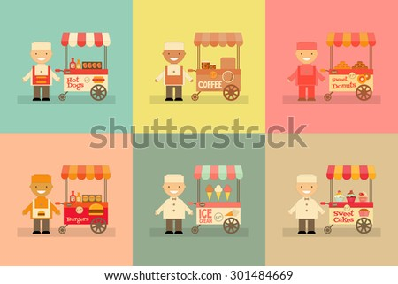 Food Carts with Sellers Set. Street-Food Market Store Car. Mini Posters Collection in Cartoon and Retro Style. Vector Illustration.  - stock vector