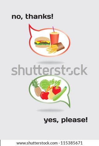 Food concept healthy and unhealthy - stock vector