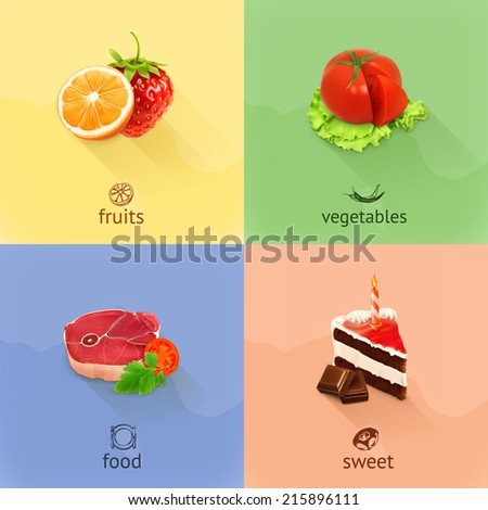 Food, concept vector set - stock vector