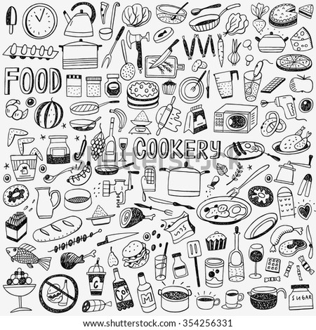 food cookery doodles set - stock vector