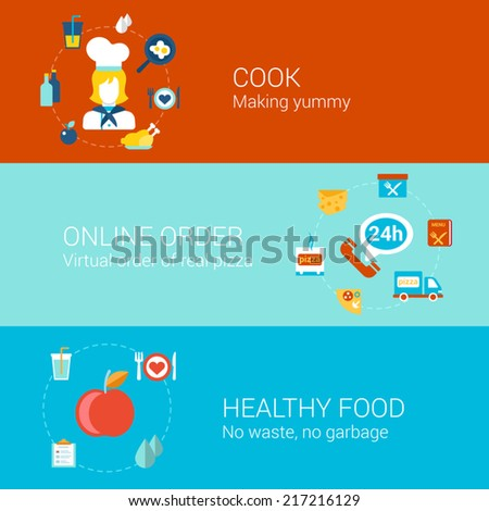 Food cooking concept flat icons set of cook professonal online order pizza healthy meal and vector web illustration website click infographics elements collection - stock vector