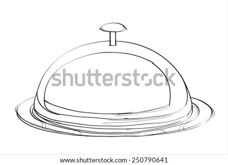 food cover - hands sketch vector illustration - stock vector