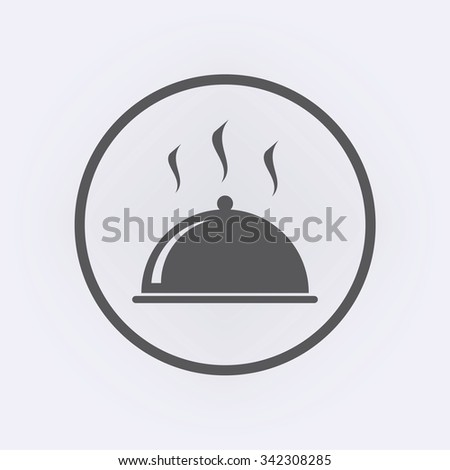 Food cover icon in circle . Vector illustration - stock vector