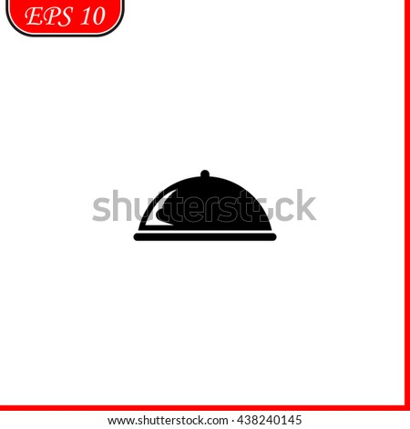 Food cover icon. Simple black vector symbol. Logo for web. Image for business. - stock vector