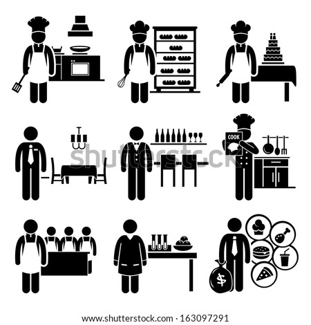 Food Culinary Jobs Occupations Careers - Cook Master Chef, Baker, Pastry, Restaurant Manager, Bartender, Cookbook Author, Cooking Class Teacher, Scientist, Franchise - Stick Figure Pictogram - stock vector