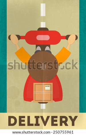 Food Delivery. Courier on Moped, Top View. Posters in Retro Style. Flat Character Design. Vector Illustration. - stock vector