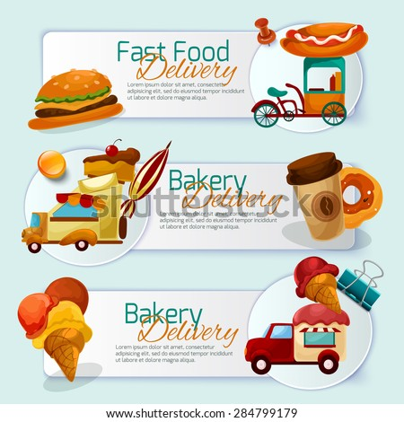 Food delivery horizontal banner set with cartoon trucks isolated vector illustration - stock vector