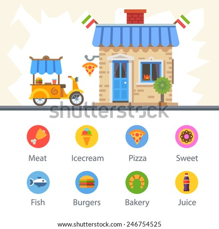 Food delivery. The restaurant building and a moped. Food badges: burger, meat, fish, pizza, ice cream, bakery, dessert, drink. Vector flat illustration and icon set - stock vector