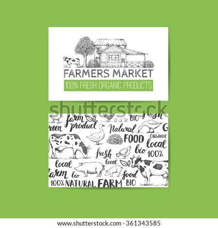 Food design template. Vintage farm logo and vegetables. Tree, house, livestock. Logotype. Hand drawn vector illustration. Lettering. Handwritten inscription. Business card for farmers market. - stock vector