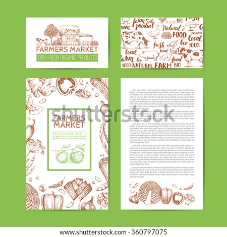 Food design template. Vintage farm logo and vegetables. Tree, veggies, house, livestock. Logotype. Hand drawn vector illustration. Farmers market. Style of etching. Lettering. Handwritten inscription.