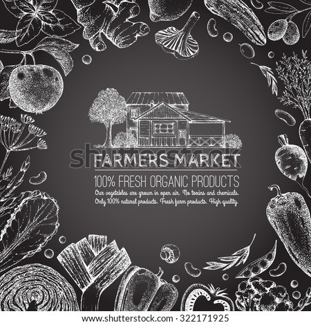Food design template. Vintage farm logo and vegetables. Tree, veggies, house. Logotype. Black and white. Hand drawn  vector illustration. Farmers market. Chalk. Isolated elements for easy use.