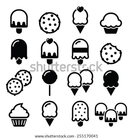 Food, desserts icons - cupcake, ice-cream, cookie, lollipop   - stock vector