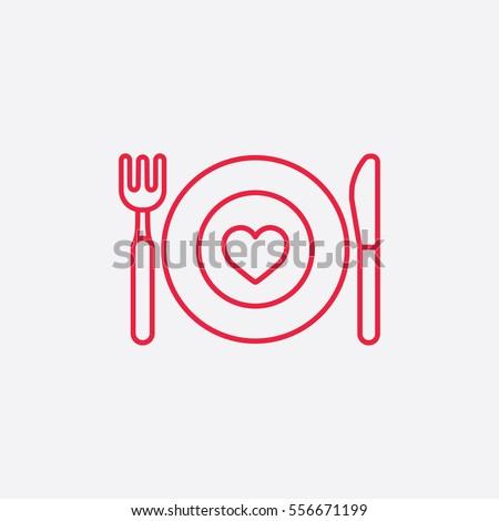 ăn thức ăn biểu tượng đường hàng bếp màu đỏ trên nền trắng đơn