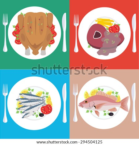 Food dishes set - stock vector