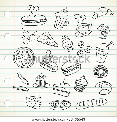 food doodle - stock vector