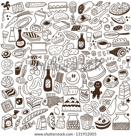 Food doodles collection - stock vector