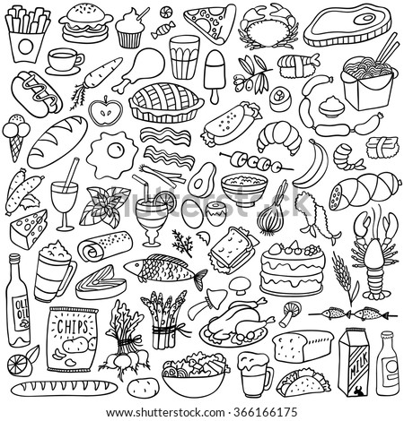 food doodles set - stock vector