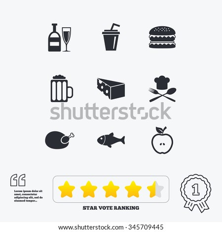 Food, drink icons. Beer, fish and burger signs. Chicken, cheese and apple symbols. Star vote ranking. Award achievement and quotes. - stock vector