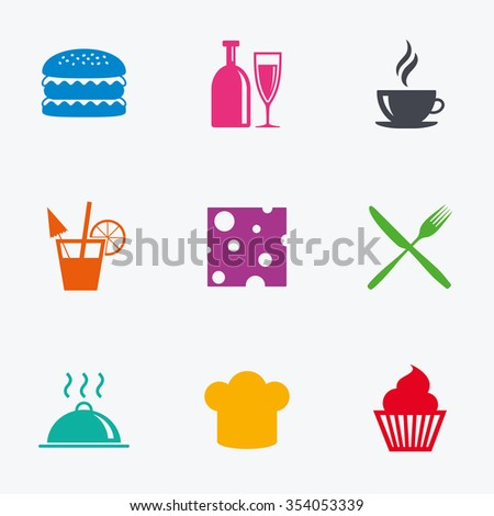 Food, drink icons. Coffee and hamburger signs. Cocktail, cheese and cupcake symbols. Flat colored graphic icons. - stock vector