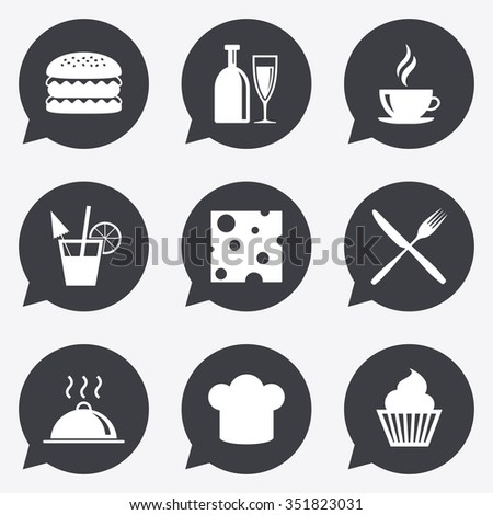 Food, drink icons. Coffee and hamburger signs. Cocktail, cheese and cupcake symbols. Flat icons in speech bubble pointers.