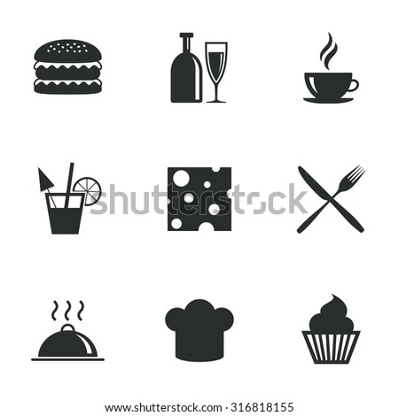 Food, drink icons. Coffee and hamburger signs. Cocktail, cheese and cupcake symbols. Flat icons on white. Vector