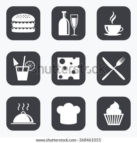 Food, drink icons. Coffee and hamburger signs. Cocktail, cheese and cupcake symbols. Flat square buttons with rounded corners.