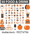 food & drink icons set, signs, vector illustration - stock photo