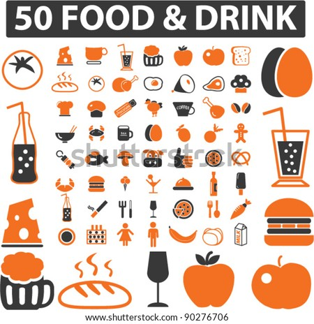 food & drink icons set, signs, vector illustration - stock vector