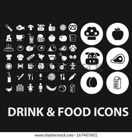 food, drink icons set, vector - stock vector