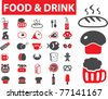 food & drink icons, signs, vector illustrations - stock vector