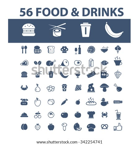 food, drinks, grocery  icons, signs vector concept set for infographics, mobile, website, application  - stock vector