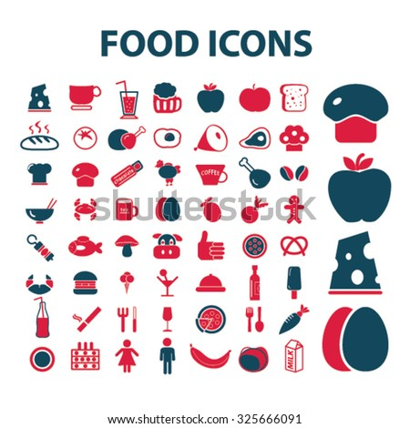 food, drinks, grocery, restaurant icons - stock vector